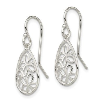 Sterling Silver Open Flower Teardrop Shepherd Hook Earrings