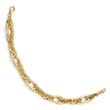 Leslie's 14K Polished Fancy Link .75in ext. Bracelet