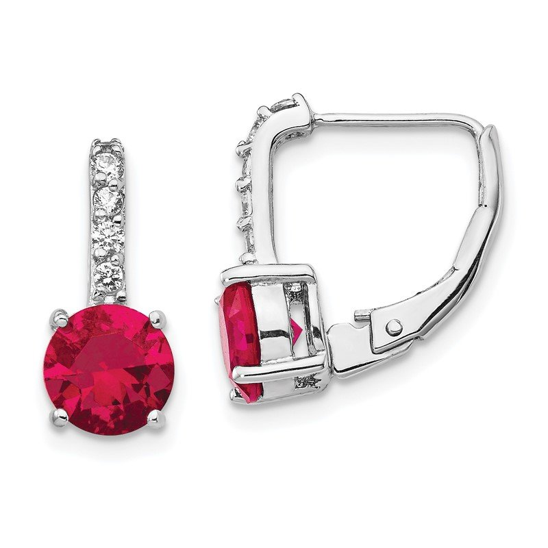 Cheryl M Cheryl M Sterling Silver Rhod Plated CZ & Created Ruby Leverback Earrings