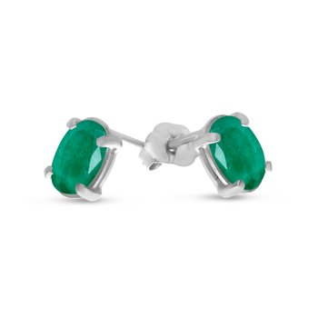 14k White Gold Oval Emerald Earrings