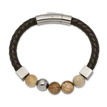 Stainless Steel Polished w/Brown Jasper Black Leather 8in Bracelet