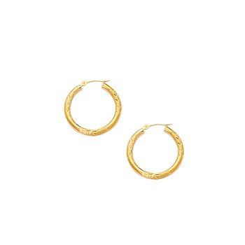 10K Gold 3mm Diamond Cut Hoop Earring