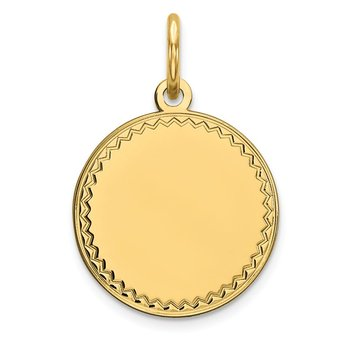Sterling Silver GP Engraveable Round Polished Disc Charm