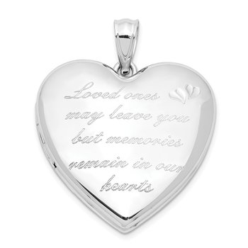 Sterling Silver Rhodium-plated Loved Ones Ash Holder Heart Locket