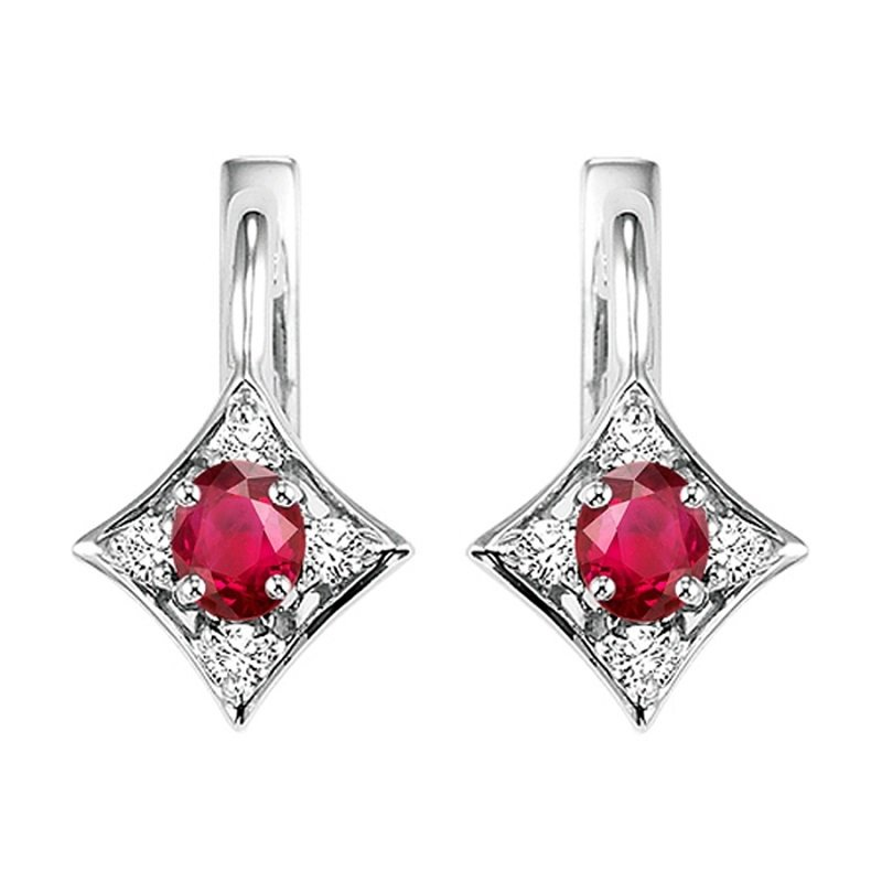 Mixables 14K Ruby & Diamond Earrings
