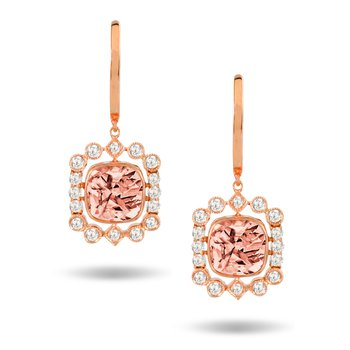 Rose Morganite & Diamond Dangles 18KR
