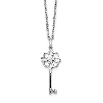 SS White Ice Diamond Flower Key 18in Necklace