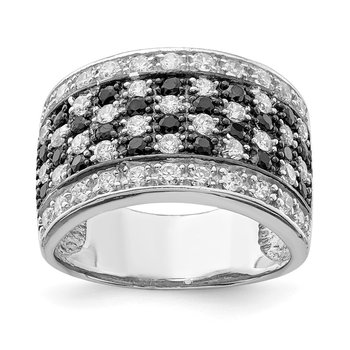 Sterling Silver Rhodium Black & White CZ Checkerboard Ring