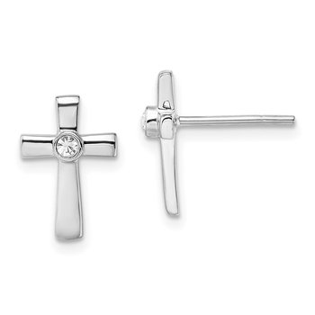 Sterling Silver Rhodium-plated Polished w/CZ Cross Post Earrings