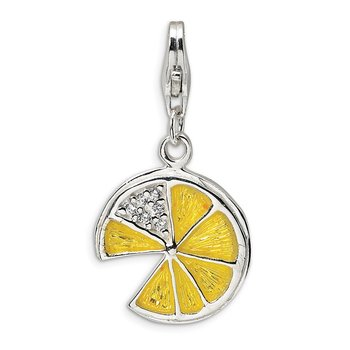 Sterling Silver RH 3-D Yellow Enamel Lemon Wedge w/Lobster Clasp Charm