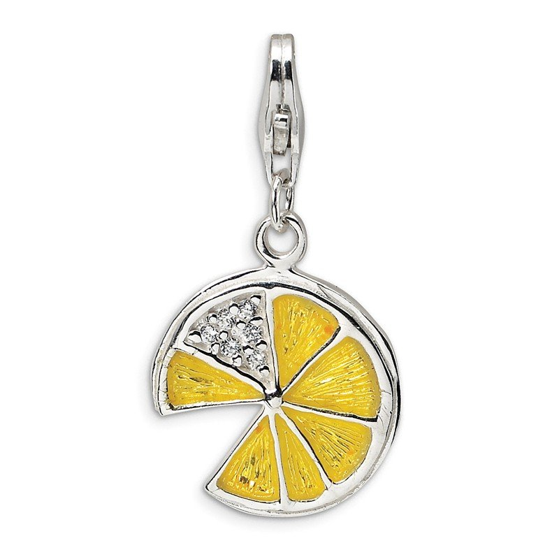 Quality Gold Sterling Silver 3-D Yellow Enamel Lemon Wedge w/Lobster Clasp Charm