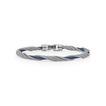 Blueberry & Grey Cable Modern Twist Bracelet