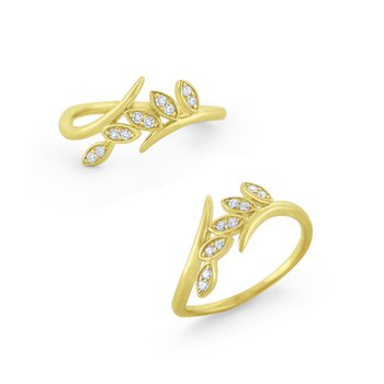 Diamond Leaf Ring Set in 14 Kt. Gold