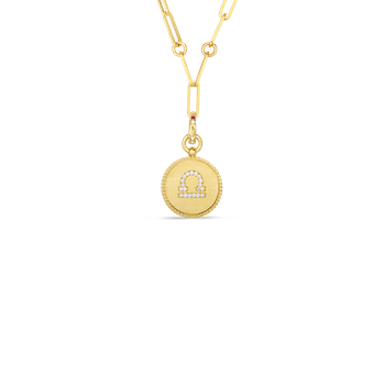 18K DIAMOND LIBRA ZODIAC MEDALLION PENDANT W. COIN EDGE ON PAPER CLIP CHAIN