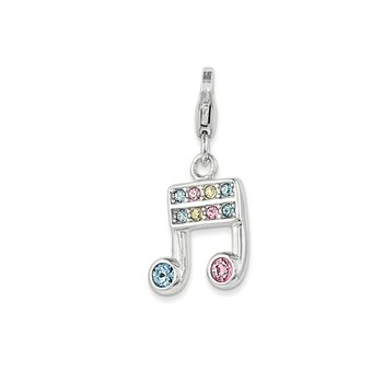 Sterling Silver Swarovski Element Music Note w/ Lobster Clasp Charm
