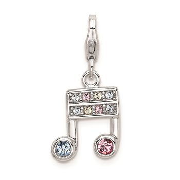 Sterling Silver RH w/ Lobster Clasp Swarovski Crystals Music Note Charm