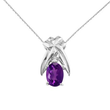 14k White Gold 7x5 mm Amethyst and Diamond Oval Shaped Pendant