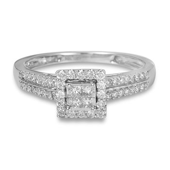 14K WG Diamond Square Halo Invisible Setting Quad Center Engagement Ring Set with Two Rows of Diamond on the Shoulder