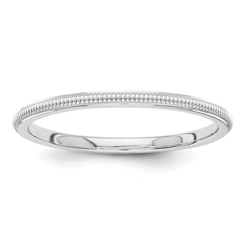 Fine Jewelry by JBD 14k White Gold 1.5mm Milgrain Band