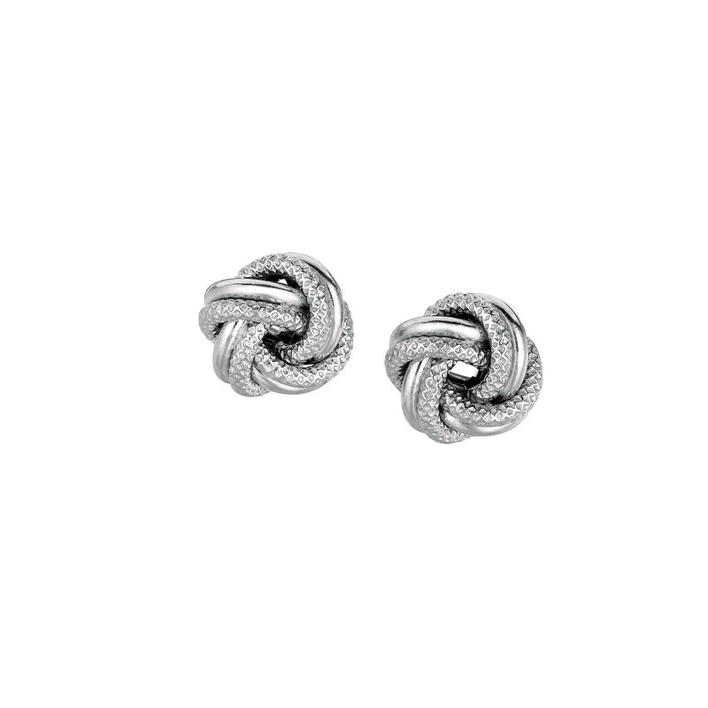 Royal Chain Silver Mini Textured & Polished Love Knot Earring