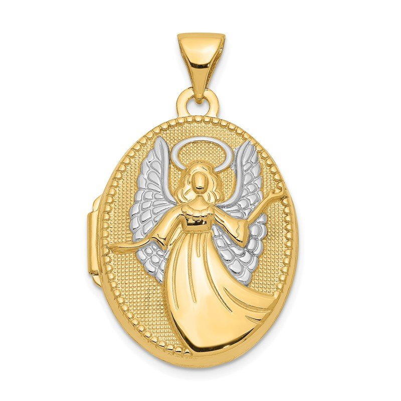 Quality Gold 14k w/Rhodium 21mm Oval Guardian Angel Locket