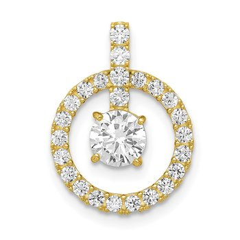10K Tiara Collection Polished CZ Pendant