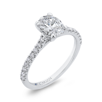 18K White Gold Oval Cut Diamond Classic Engagement Ring (Semi-Mount)