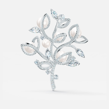 Leonore Tree Brooch, White, Rhodium plated