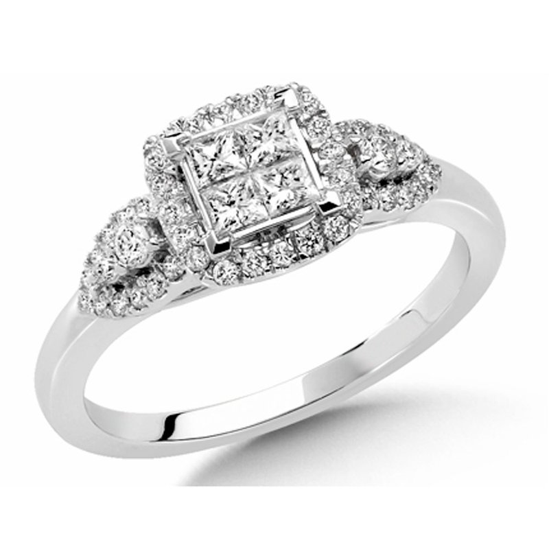 SDC Creations Invisible set Princess and Round cut Diamond Engagment ring in 14k White Gold (1ct. tw.)