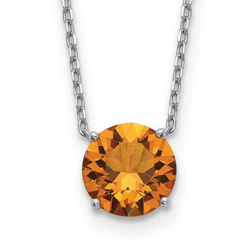 Sterling Silver RH Plated Dark Yellow Swarovski Crystal w/ 2in ext Necklace