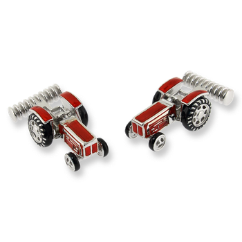 Sterling Silver Tractor Elbow Cufflinks-Red