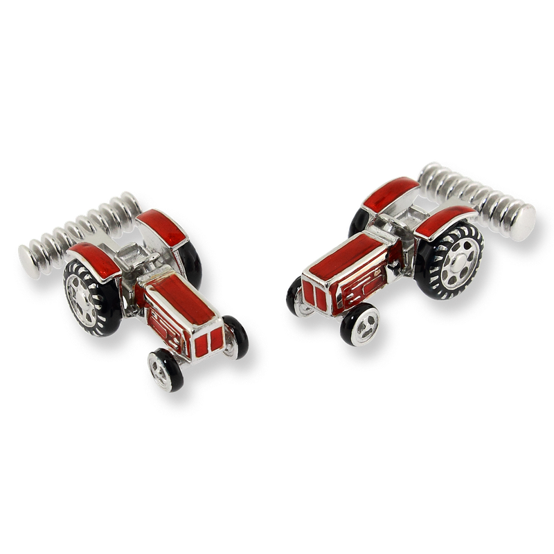 Nicole Barr Designs Sterling Silver Tractor Elbow Cufflinks-Red