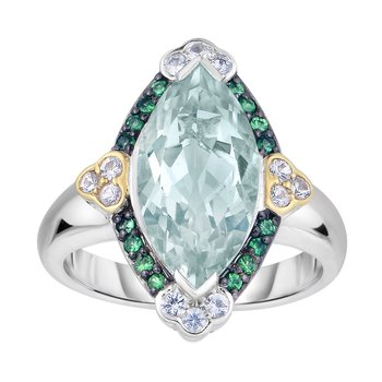 Silver & 18K Gem Candy Ring