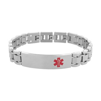 Polish Finished in Red Caduceus Medical Alert Symbol Engravable Link Bracelet