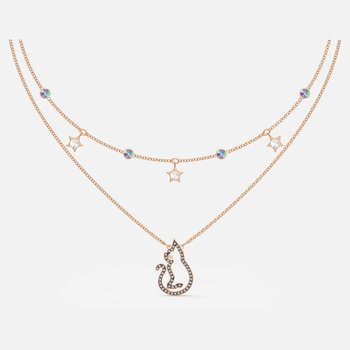 Cattitude Layered Necklace, Multicolored, Rose-gold tone plated