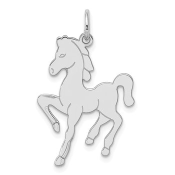 Sterling Silver Rhodium-plated Horse Disc