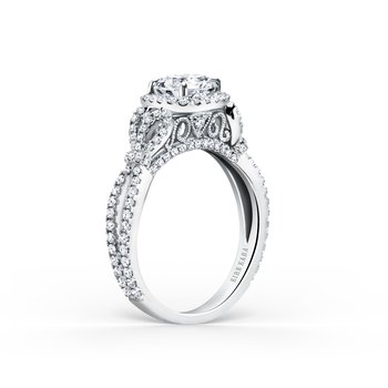 Bows Diamond Halo Engagement Ring