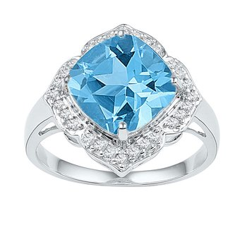 10kt White Gold Womens Princess Lab-Created Blue Topaz Solitaire Ring 5.00 Cttw