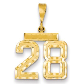14k Medium Diamond-cut Number 28 Charm