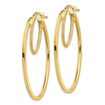 14k Polished & Textured Double Oval Hoop Earrings