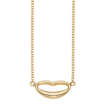 14K Gold Polished Italian Kiss Necklace