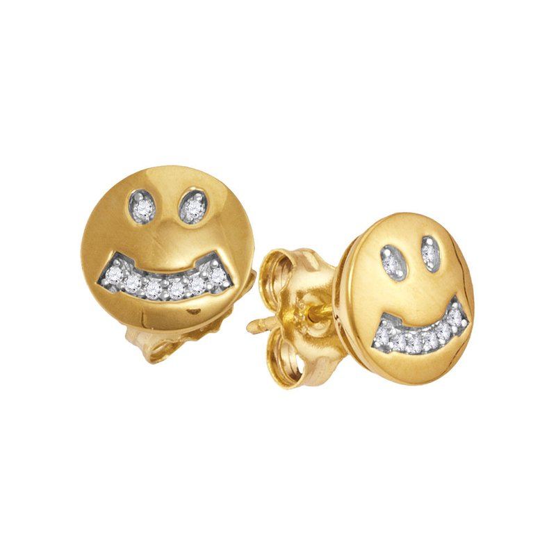 Gold-N-Diamonds 10kt Yellow Gold Womens Round Diamond Smiley Face Screwback Earrings 1/20 Cttw