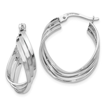 Leslie's 14k White Gold Polished Fancy Hinged Hoop Earrings