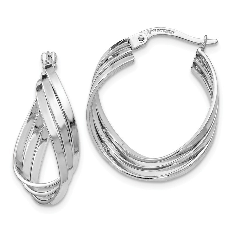 Leslie's Leslie's 14k White Gold Polished Fancy Hinged Hoop Earrings