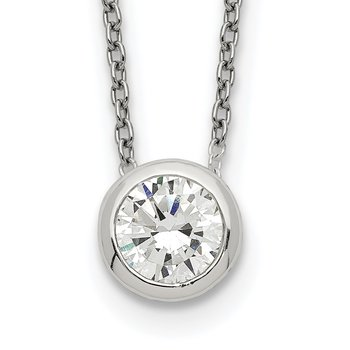 Sterling Silver Bezel 8mm CZ Necklace