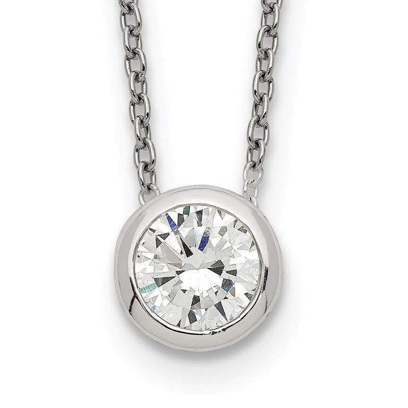 Quality Gold Sterling Silver Bezel 8mm CZ Necklace