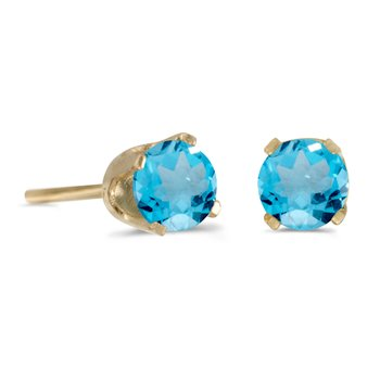 14K Yellow Gold 4 mm Round Blue Topaz Stud Earrings