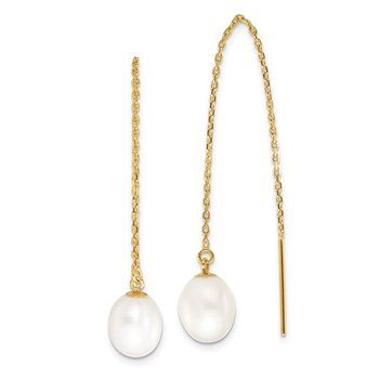 14k 7-8mm White Rice FW Cultured Pearl Cable Chain Threader Earrings