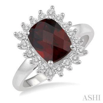 CUSHION SHAPE GEMSTONE & DIAMOND RING