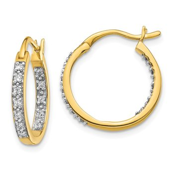 14k White Gold Diamond In/Out Hoop Earrings